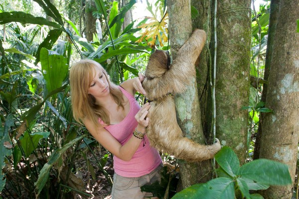 Becky With Sloth Backpack 2014 10 07